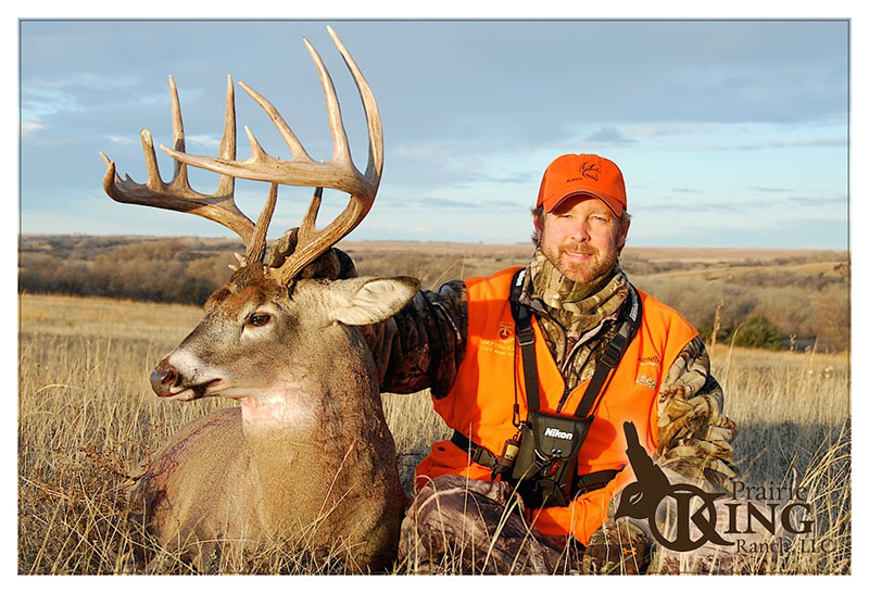 """Tim Herald with a beautiful 180""""+ buck he shot with James. Brion knew this buck was living in one of his 40 acre sanctuaries and it was just a matter of time before he showed up for the shot."""""""