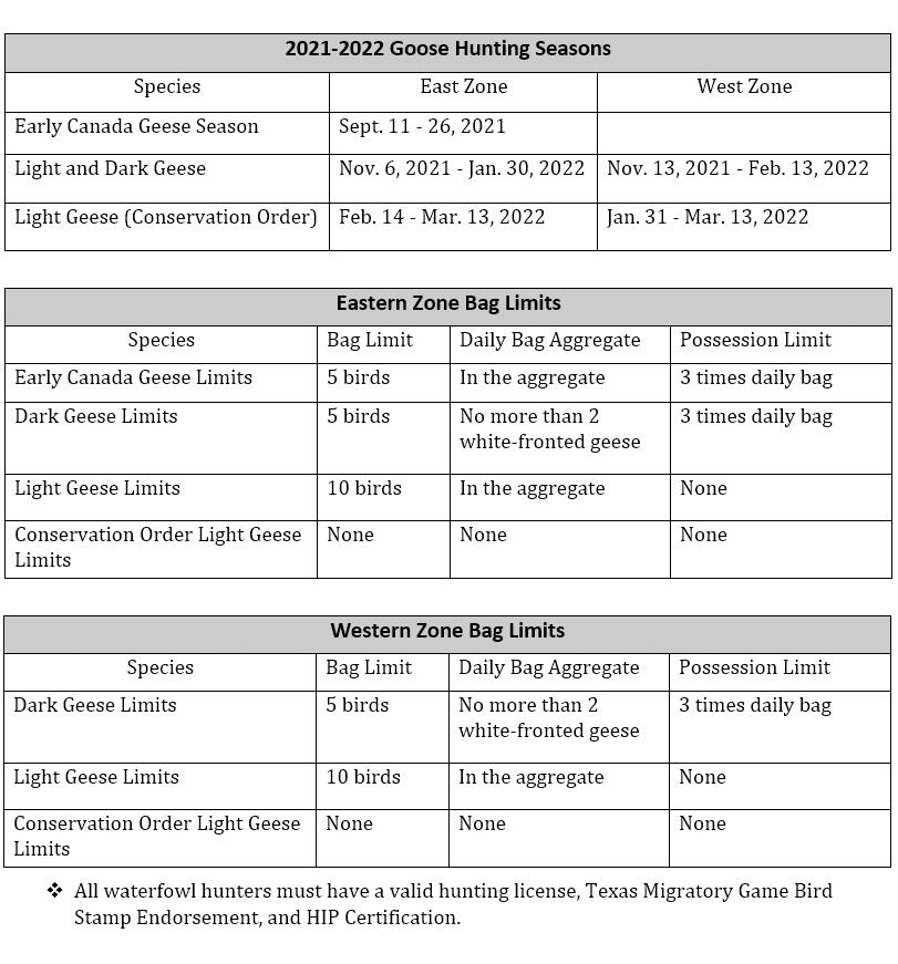 texas goose hunting seasons 2021-2022